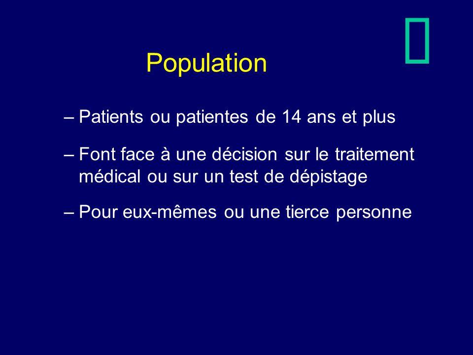 Population –Patients ou patientes de 14 ans et plus –Font face à une décision sur le traitement médical ou sur un test de dépistage –Pour eux-mêmes ou une tierce personne