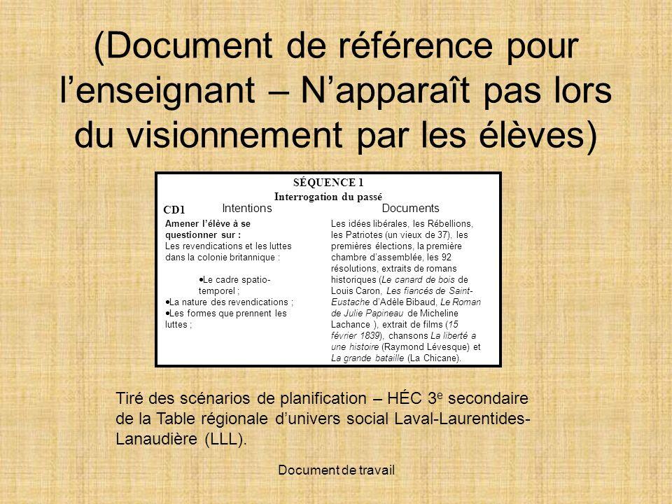 Document de travail (Document de référence pour lenseignant – Napparaît pas lors du visionnement par les élèves) Tiré des scénarios de planification – HÉC 3 e secondaire de la Table régionale dunivers social Laval-Laurentides- Lanaudière (LLL).