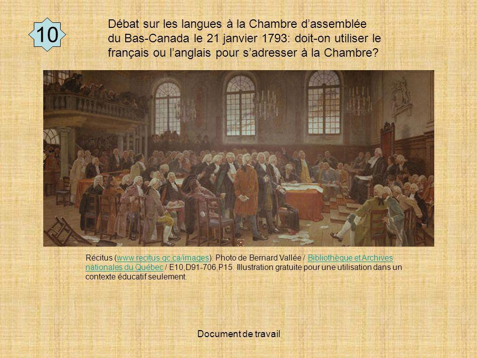Document de travail Débat sur les langues à la Chambre dassemblée du Bas-Canada le 21 janvier 1793: doit-on utiliser le français ou langlais pour sadresser à la Chambre.