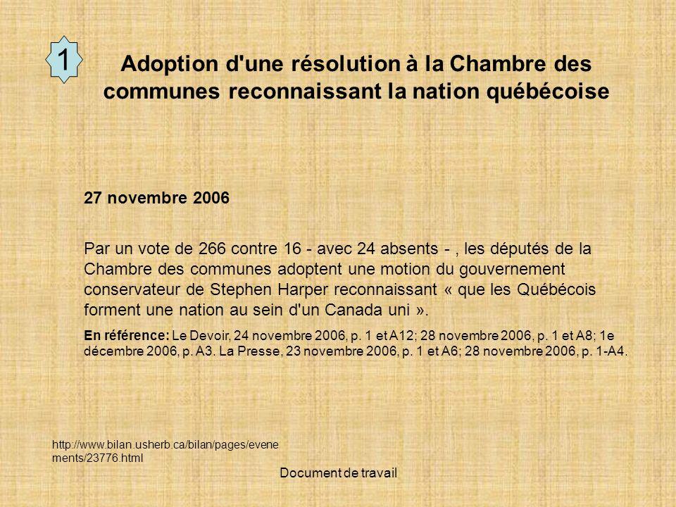 Document de travail 27 novembre 2006 Par un vote de 266 contre 16 - avec 24 absents -, les députés de la Chambre des communes adoptent une motion du gouvernement conservateur de Stephen Harper reconnaissant « que les Québécois forment une nation au sein d un Canada uni ».