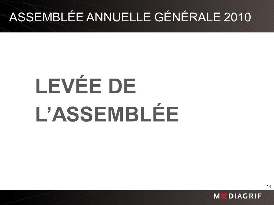 ASSEMBLÉE ANNUELLE GÉNÉRALE 2010 LEVÉE DE LASSEMBLÉE 14