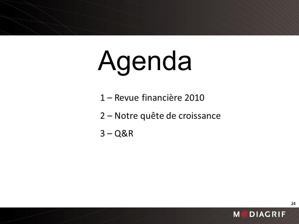1 – Revue financière 2010 2 – Notre quête de croissance 3 – Q&R Agenda 24