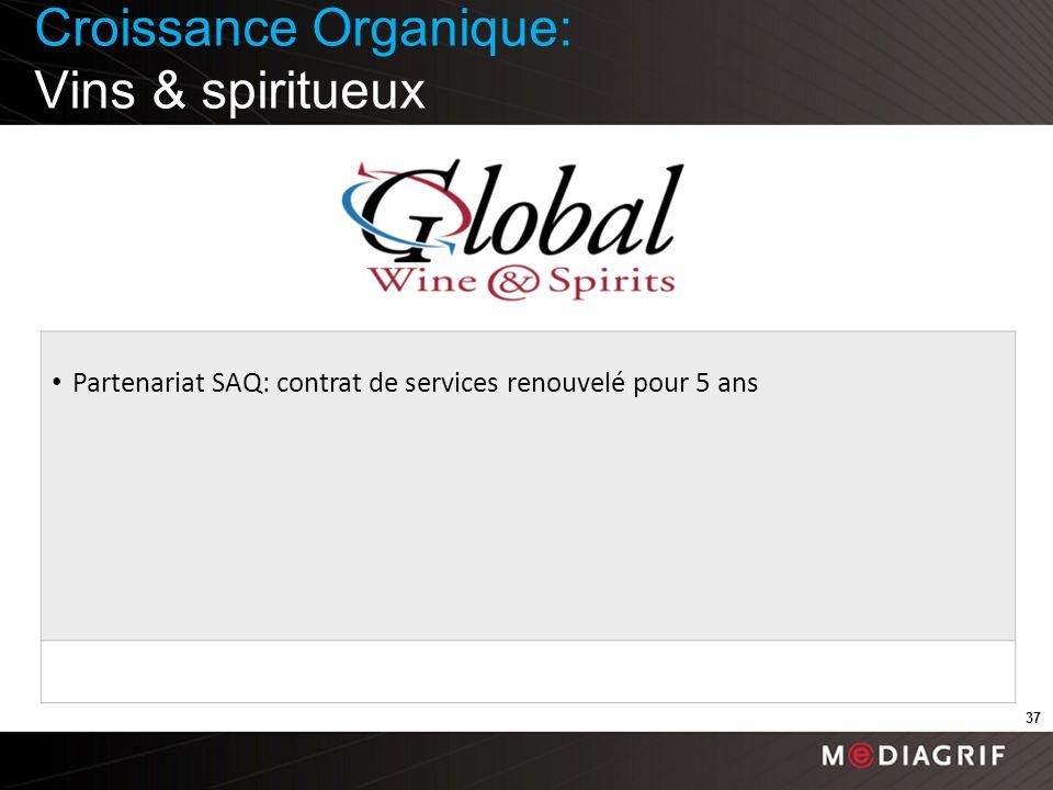 Croissance Organique: Vins & spiritueux 37 Partenariat SAQ: contrat de services renouvelé pour 5 ans