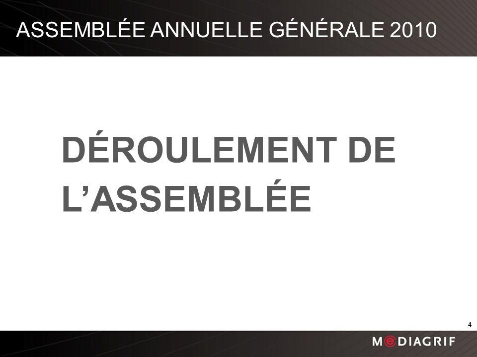 ASSEMBLÉE ANNUELLE GÉNÉRALE 2010 DÉROULEMENT DE LASSEMBLÉE 4