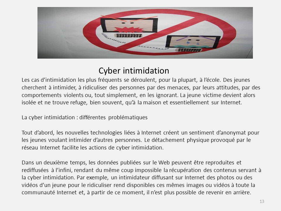 Cyber intimidation Les cas dintimidation les plus fréquents se déroulent, pour la plupart, à lécole.