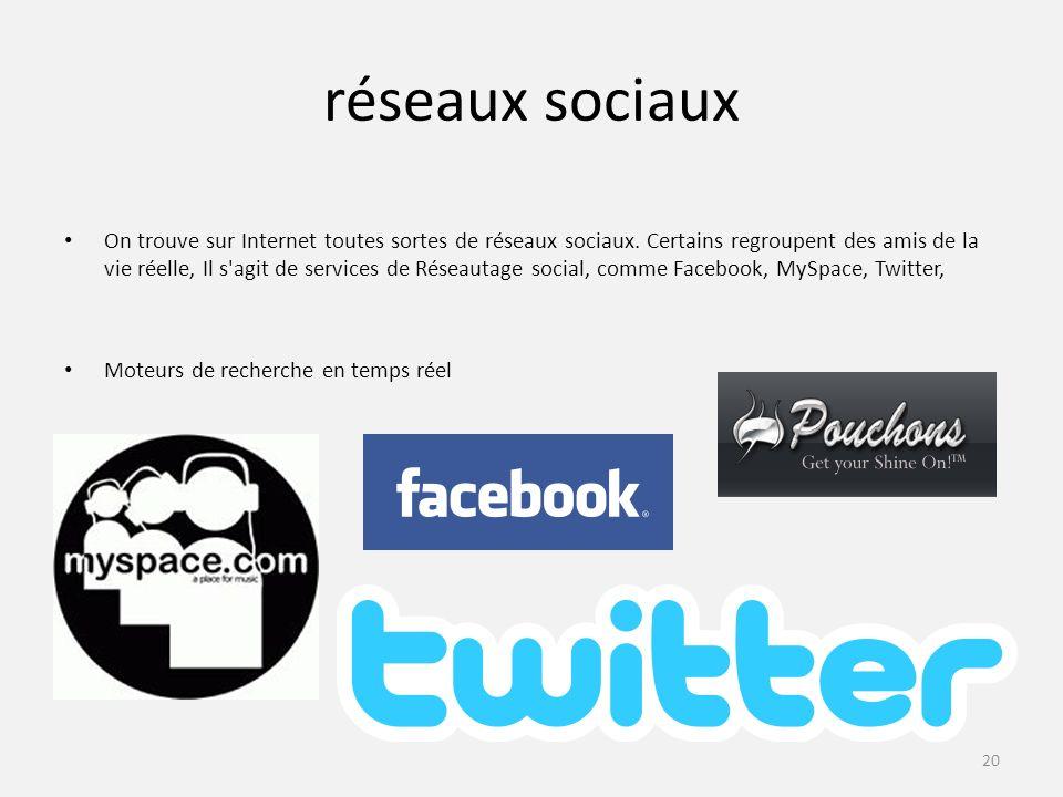 réseaux sociaux On trouve sur Internet toutes sortes de réseaux sociaux.