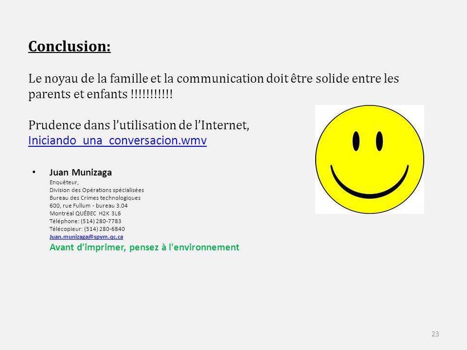 Conclusion: Le noyau de la famille et la communication doit être solide entre les parents et enfants !!!!!!!!!!.