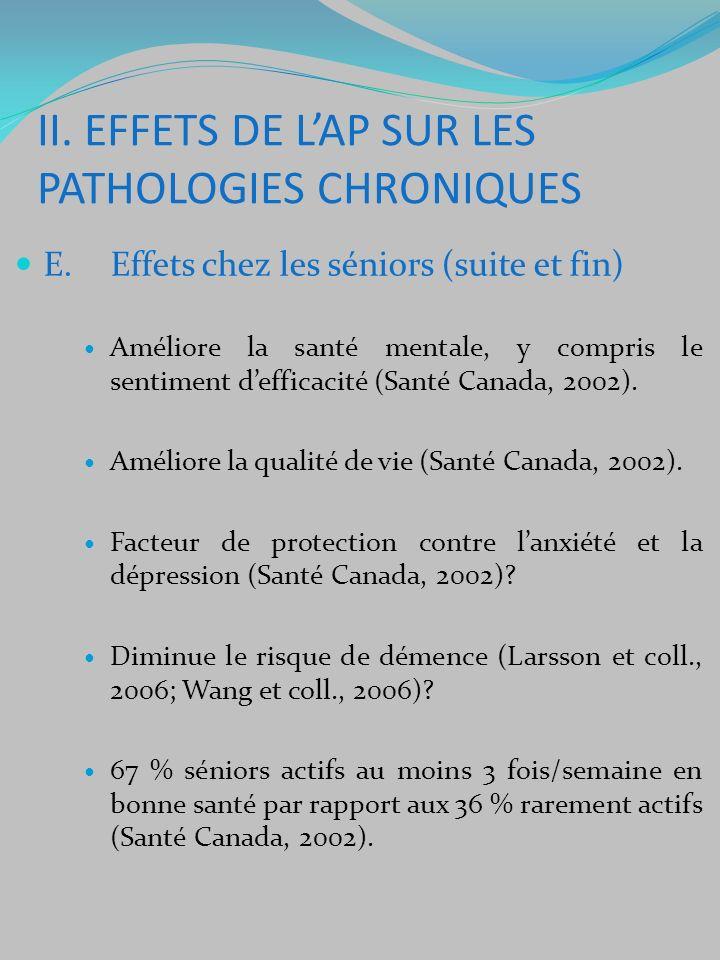 E. Effets chez les séniors (suite et fin) Améliore la santé mentale, y compris le sentiment defficacité (Santé Canada, 2002). Améliore la qualité de v