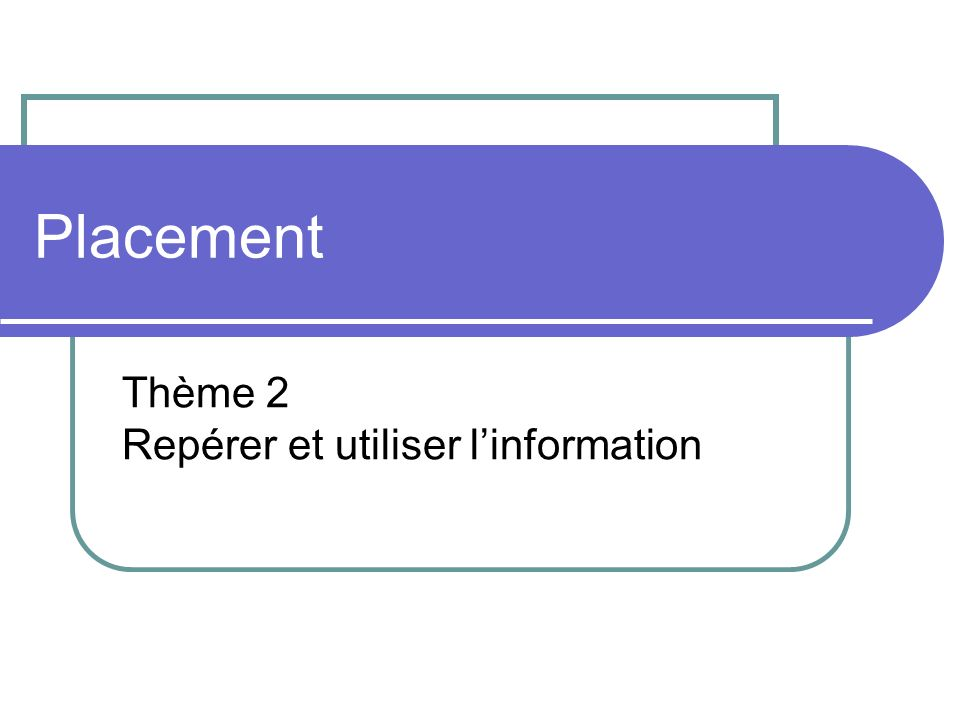 Placement Thème 2 Repérer et utiliser linformation