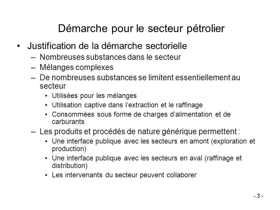 - 3 - Démarche pour le secteur pétrolier Justification de la démarche sectorielle –Nombreuses substances dans le secteur –Mélanges complexes –De nombr