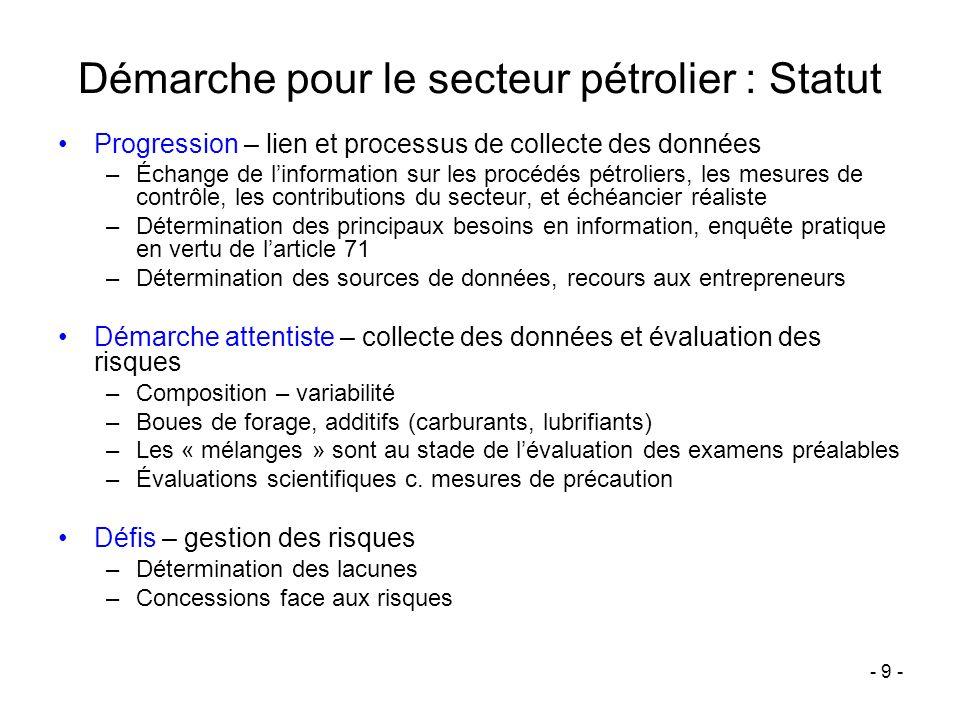 - 9 - Démarche pour le secteur pétrolier : Statut Progression – lien et processus de collecte des données –Échange de linformation sur les procédés pé