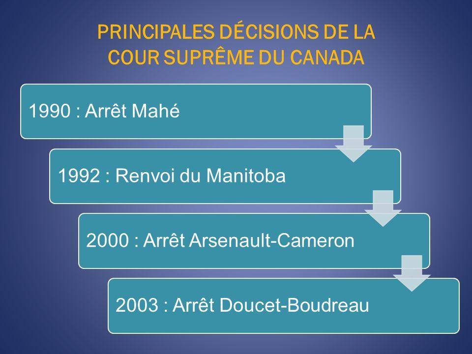 PRINCIPALES DÉCISIONS DE LA COUR SUPRÊME DU CANADA 1990 : Arrêt Mahé1992 : Renvoi du Manitoba2000 : Arrêt Arsenault-Cameron2003 : Arrêt Doucet-Boudreau