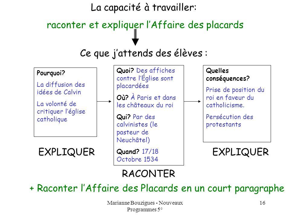 Marianne Bouzigues - Nouveaux Programmes 5° 16 La capacité à travailler: raconter et expliquer lAffaire des placards Ce que jattends des élèves : Quel