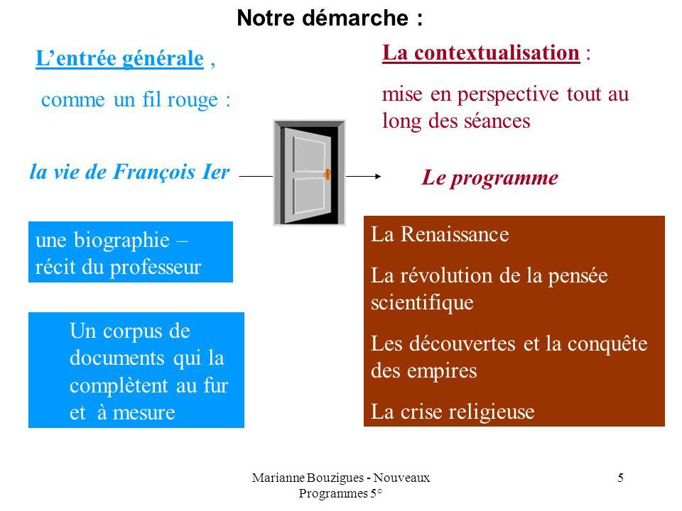 Marianne Bouzigues - Nouveaux Programmes 5° 5 Lentrée générale, comme un fil rouge : La contextualisation : mise en perspective tout au long des séanc