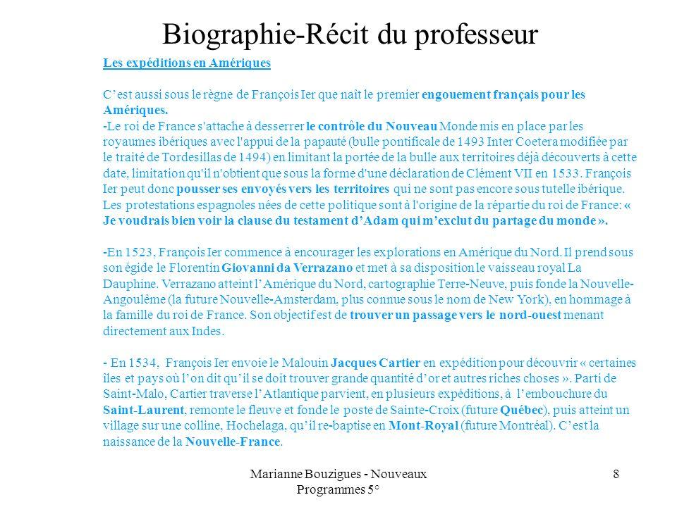 Marianne Bouzigues - Nouveaux Programmes 5° 8 Les expéditions en Amériques Cest aussi sous le règne de François Ier que naît le premier engouement fra