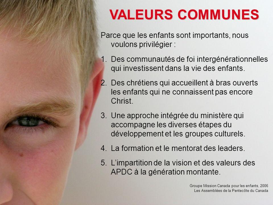 VALEURS COMMUNES Parce que les enfants sont importants, nous voulons privilégier : 1.Des communautés de foi intergénérationnelles qui investissent dans la vie des enfants.