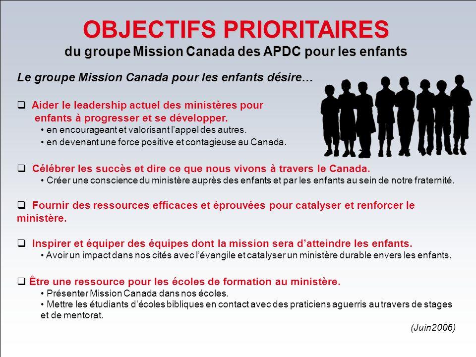 OBJECTIFS PRIORITAIRES du groupe Mission Canada des APDC pour les enfants Le groupe Mission Canada pour les enfants désire… Aider le leadership actuel des ministères pour enfants à progresser et se développer.