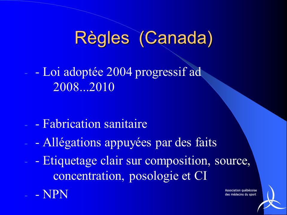 Règles (Canada) - - Loi adoptée 2004 progressif ad 2008...2010 - - Fabrication sanitaire - - Allégations appuyées par des faits - - Etiquetage clair s