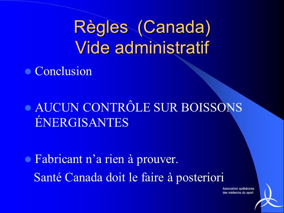 Règles (Canada) Vide administratif Conclusion AUCUN CONTRÔLE SUR BOISSONS ÉNERGISANTES Fabricant na rien à prouver. Santé Canada doit le faire à poste