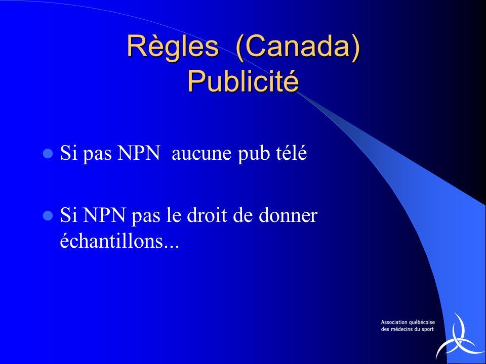 Règles (Canada) Publicité Si pas NPN aucune pub télé Si NPN pas le droit de donner échantillons...