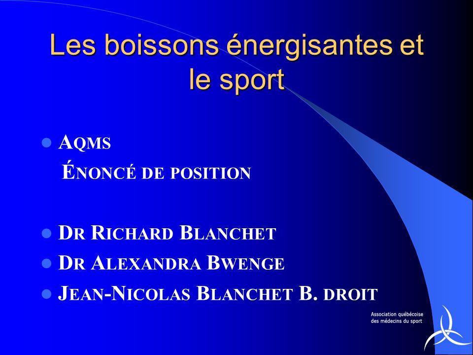 Les boissons énergisantes et le sport A QMS É NONCÉ DE POSITION D R R ICHARD B LANCHET D R A LEXANDRA B WENGE J EAN -N ICOLAS B LANCHET B. DROIT