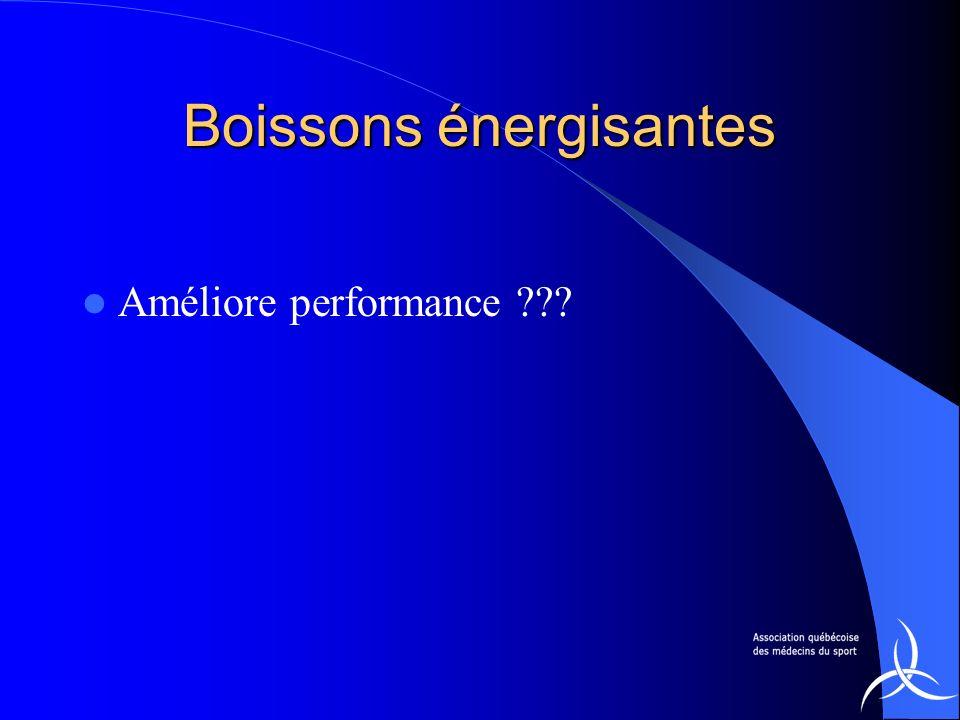 Boissons énergisantes Améliore performance ???
