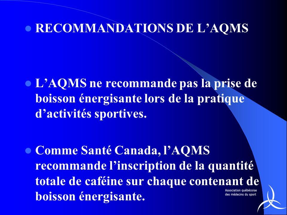 RECOMMANDATIONS DE LAQMS LAQMS ne recommande pas la prise de boisson énergisante lors de la pratique dactivités sportives. Comme Santé Canada, lAQMS r
