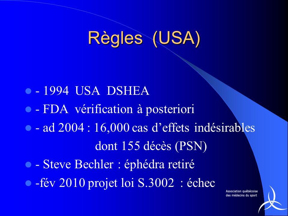 Règles (USA) - 1994 USA DSHEA - FDA vérification à posteriori - ad 2004 : 16,000 cas deffets indésirables dont 155 décès (PSN) - Steve Bechler : éphéd