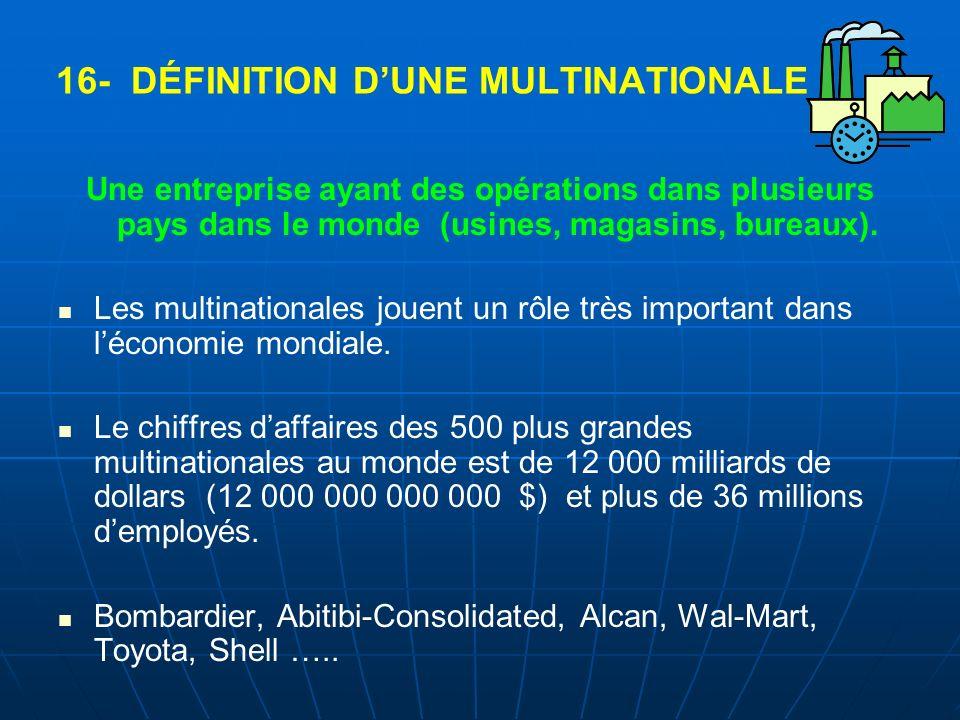 16- DÉFINITION DUNE MULTINATIONALE Une entreprise ayant des opérations dans plusieurs pays dans le monde (usines, magasins, bureaux). Les multinationa