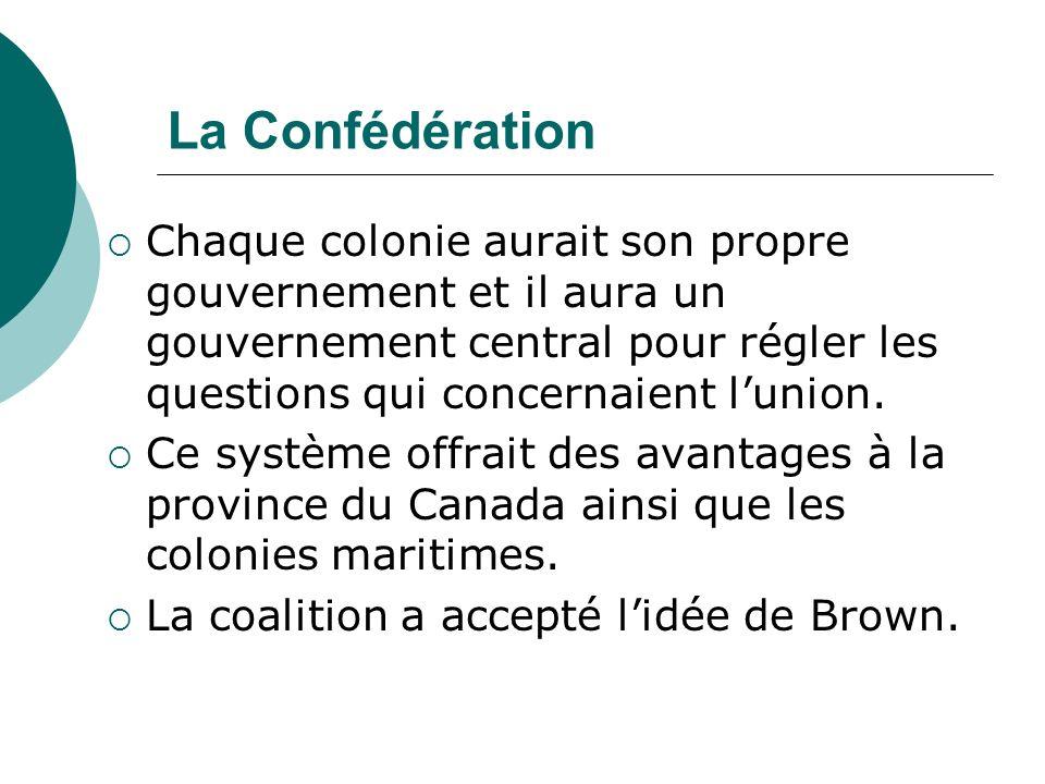 La Confédération Chaque colonie aurait son propre gouvernement et il aura un gouvernement central pour régler les questions qui concernaient lunion. C