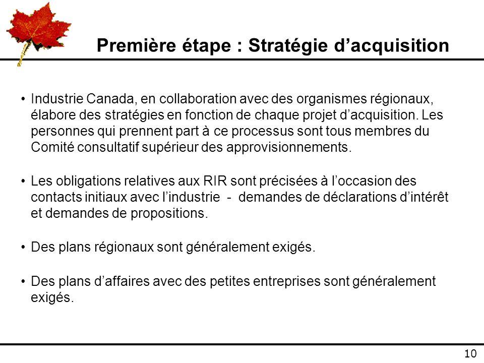 10 Première étape : Stratégie dacquisition Industrie Canada, en collaboration avec des organismes régionaux, élabore des stratégies en fonction de chaque projet dacquisition.