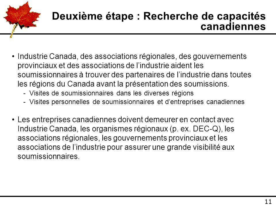11 Deuxième étape : Recherche de capacités canadiennes Industrie Canada, des associations régionales, des gouvernements provinciaux et des associations de lindustrie aident les soumissionnaires à trouver des partenaires de lindustrie dans toutes les régions du Canada avant la présentation des soumissions.