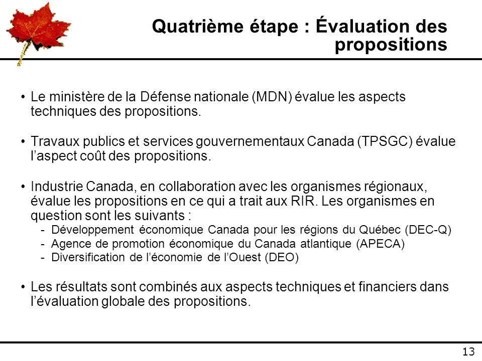 13 Quatrième étape : Évaluation des propositions Le ministère de la Défense nationale (MDN) évalue les aspects techniques des propositions.