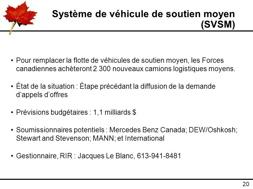 20 Système de véhicule de soutien moyen (SVSM) Pour remplacer la flotte de véhicules de soutien moyen, les Forces canadiennes achèteront 2 300 nouveaux camions logistiques moyens.