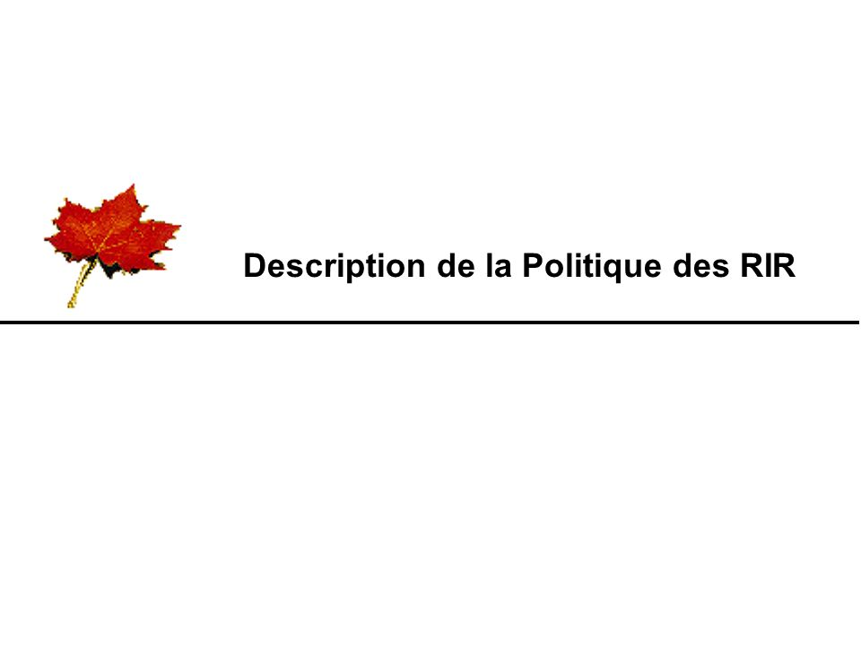 Description de la Politique des RIR