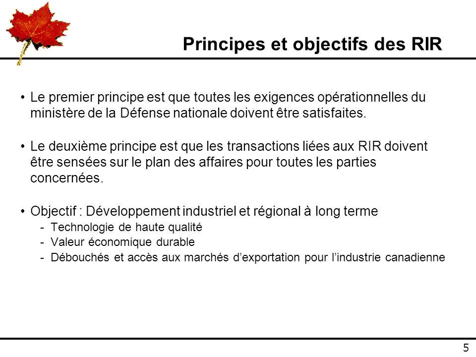 5 5 Principes et objectifs des RIR Le premier principe est que toutes les exigences opérationnelles du ministère de la Défense nationale doivent être satisfaites.