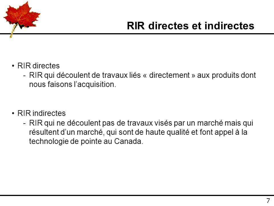 7 7 RIR directes et indirectes RIR directes -RIR qui découlent de travaux liés « directement » aux produits dont nous faisons lacquisition.