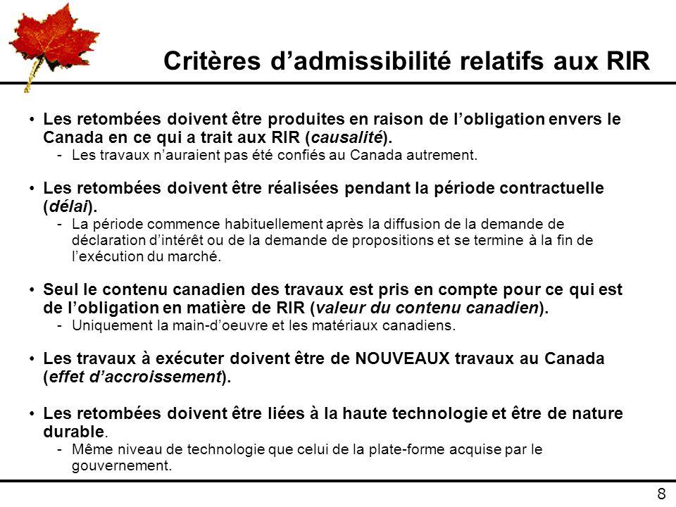 8 8 Critères dadmissibilité relatifs aux RIR Les retombées doivent être produites en raison de lobligation envers le Canada en ce qui a trait aux RIR (causalité).