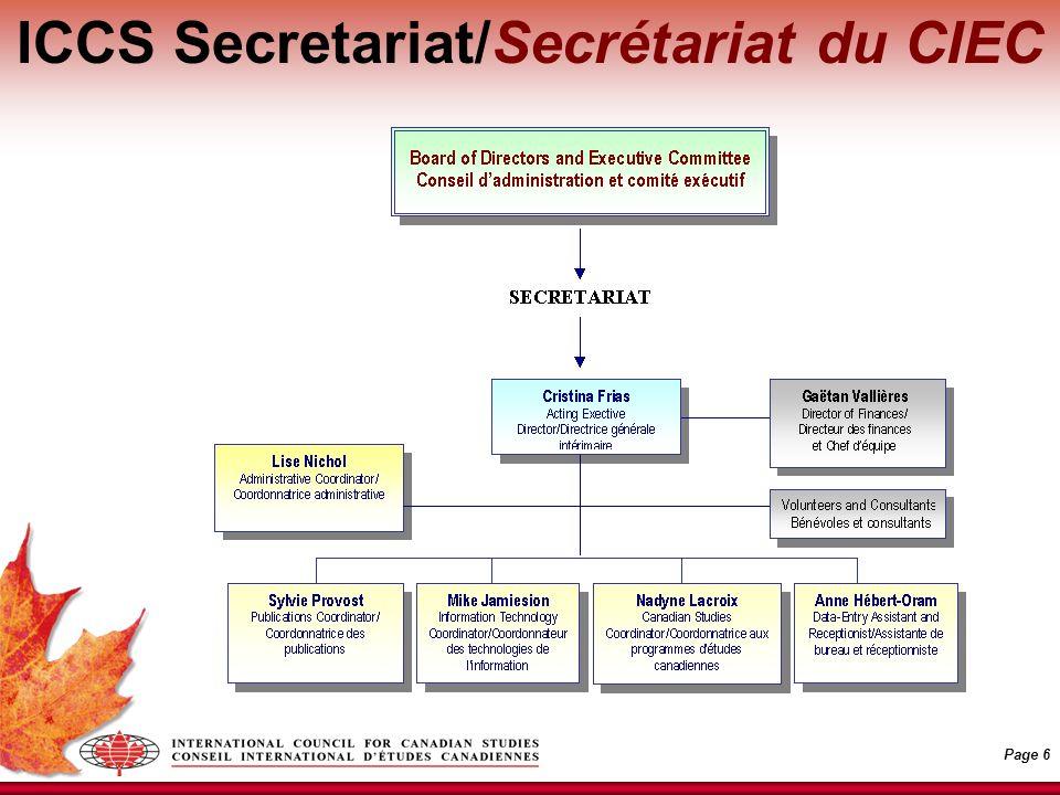 Page 6 ICCS Secretariat/Secrétariat du CIEC