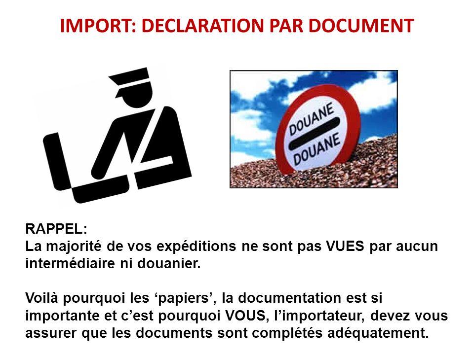 IMPORT: DECLARATION PAR DOCUMENT RAPPEL: La majorité de vos expéditions ne sont pas VUES par aucun intermédiaire ni douanier. Voilà pourquoi les papie
