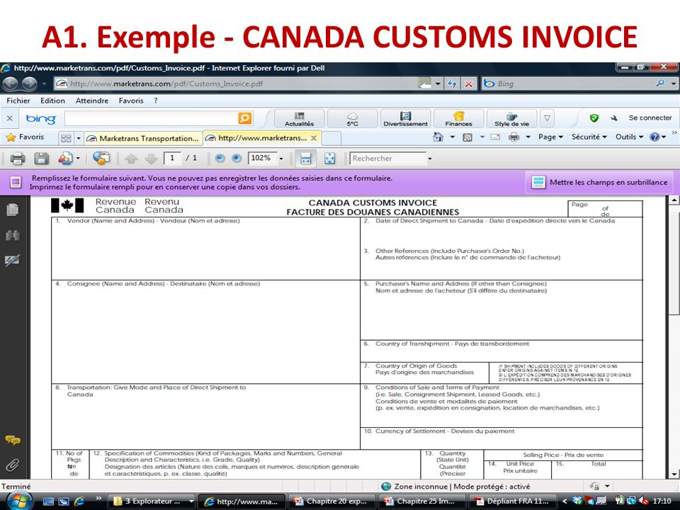 A1. Exemple - CANADA CUSTOMS INVOICE