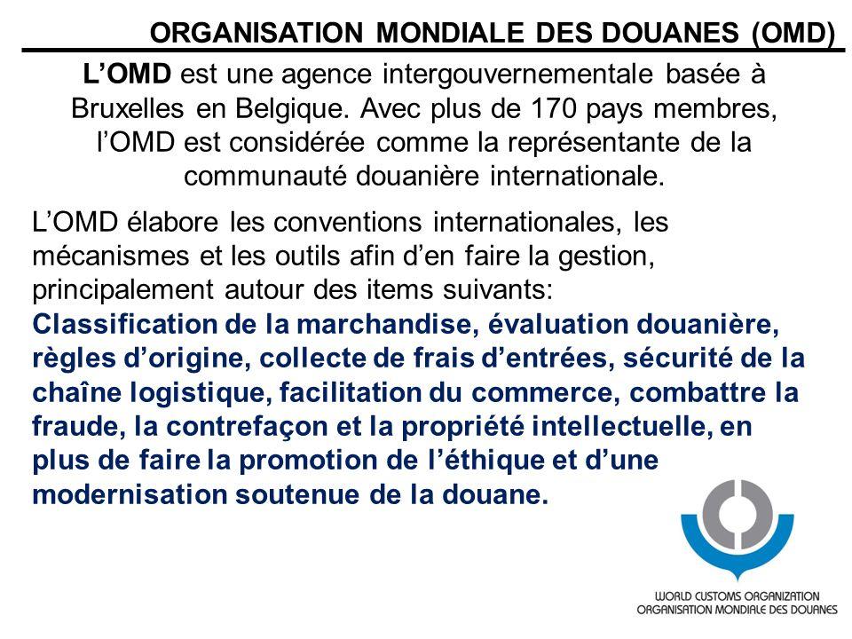 ORGANISATION MONDIALE DES DOUANES (OMD) LOMD est une agence intergouvernementale basée à Bruxelles en Belgique. Avec plus de 170 pays membres, lOMD es