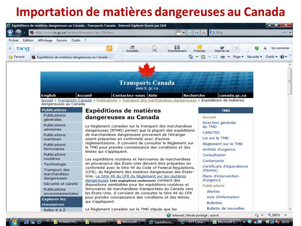 Importation de matières dangereuses au Canada