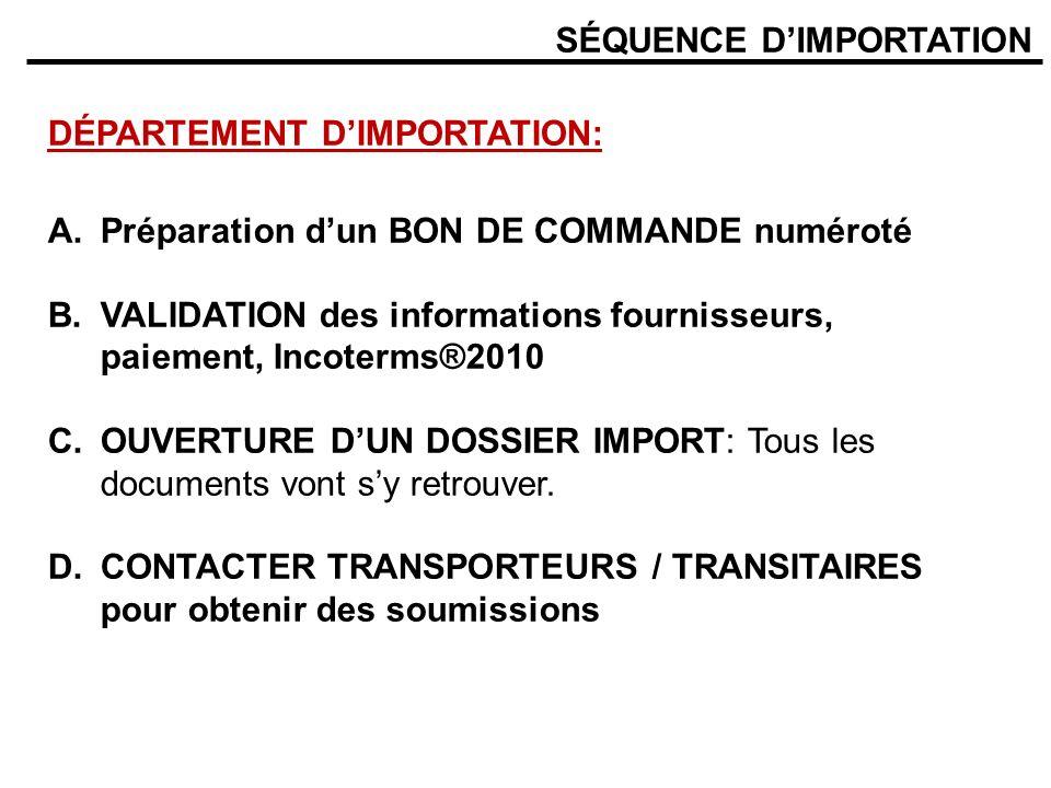 SÉQUENCE DIMPORTATION DÉPARTEMENT DIMPORTATION: A.Préparation dun BON DE COMMANDE numéroté B.VALIDATION des informations fournisseurs, paiement, Incot