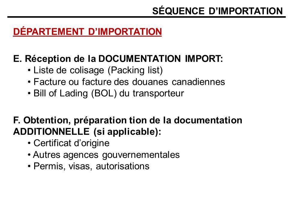 SÉQUENCE DIMPORTATION DÉPARTEMENT DIMPORTATION E. Réception de la DOCUMENTATION IMPORT: Liste de colisage (Packing list) Facture ou facture des douane