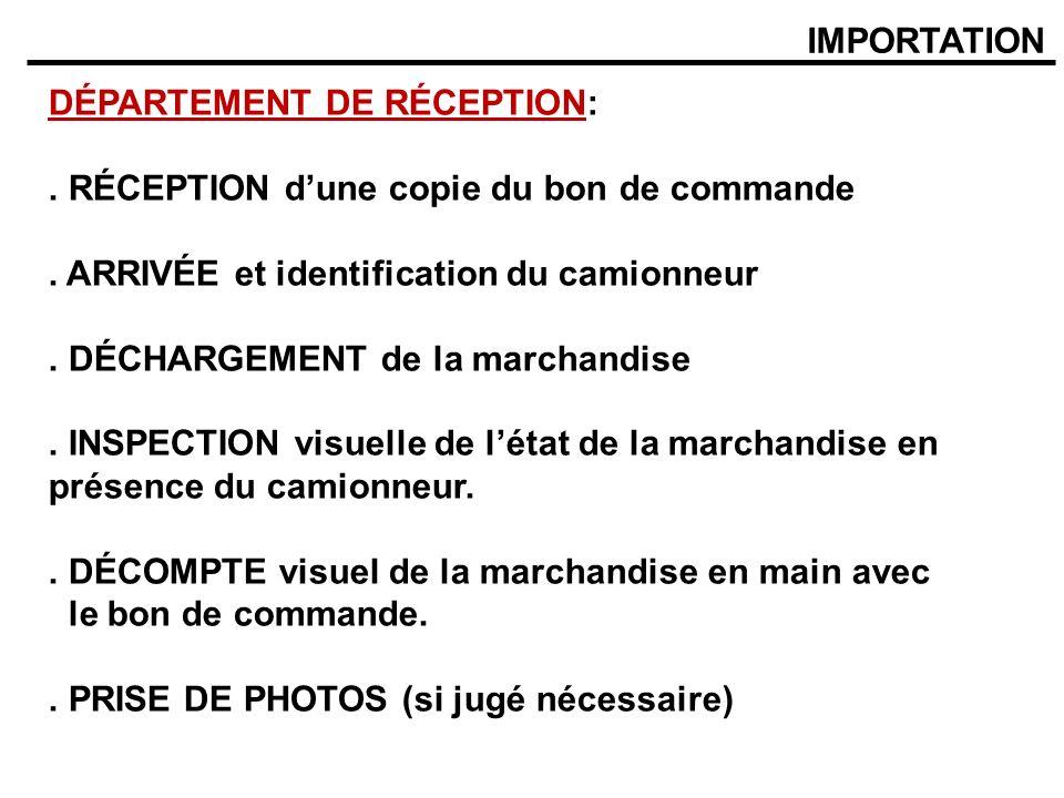 IMPORTATION DÉPARTEMENT DE RÉCEPTION:. RÉCEPTION dune copie du bon de commande. ARRIVÉE et identification du camionneur. DÉCHARGEMENT de la marchandis