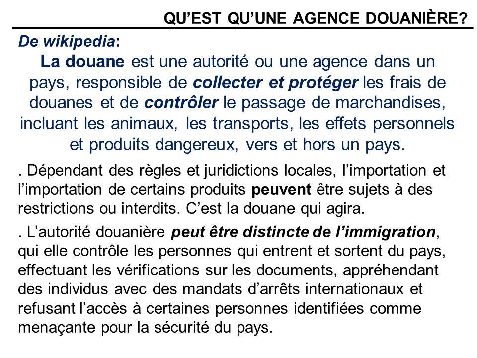 QUEST QUUNE AGENCE DOUANIÈRE? De wikipedia: La douane est une autorité ou une agence dans un pays, responsible de collecter et protéger les frais de d
