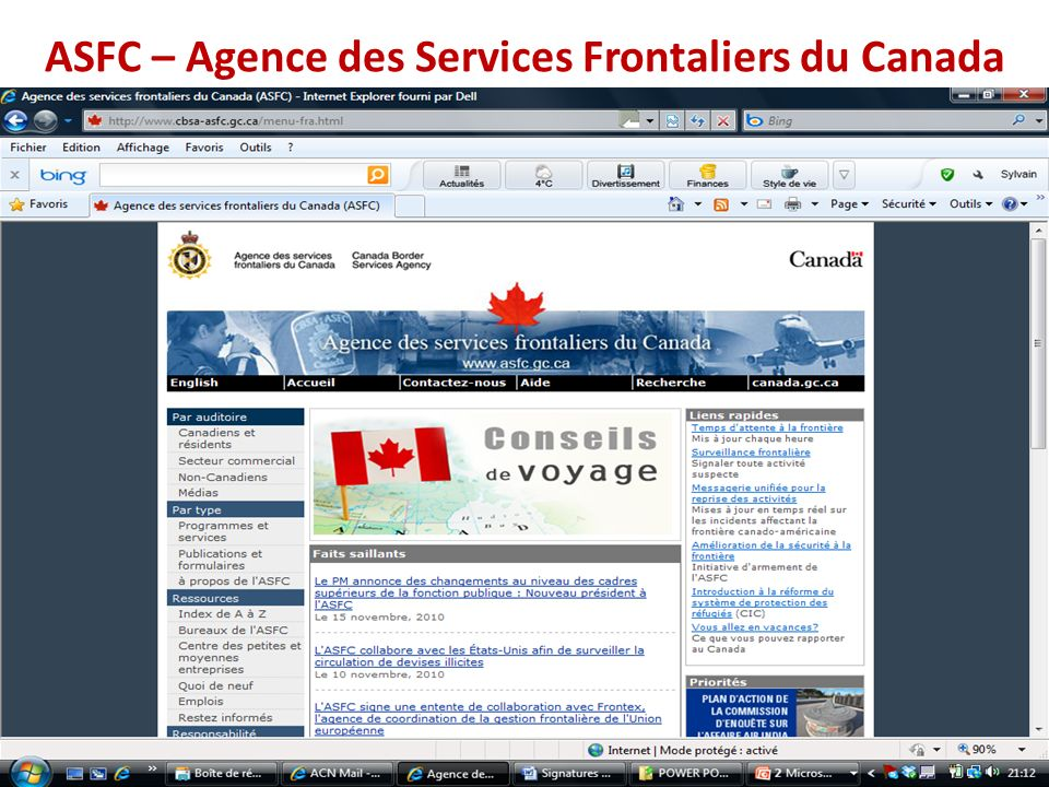 ASFC – Agence des Services Frontaliers du Canada
