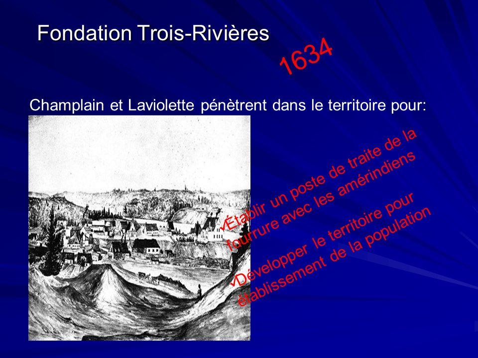 Fondation Trois-Rivières Champlain et Laviolette pénètrent dans le territoire pour: Établir un poste de traite de la fourrure avec les amérindiens Dév