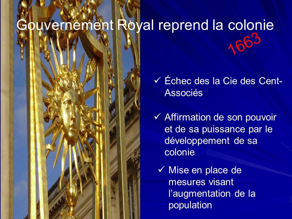 Gouvernement Royal reprend la colonie 1663 Échec des la Cie des Cent- Associés Affirmation de son pouvoir et de sa puissance par le développement de s